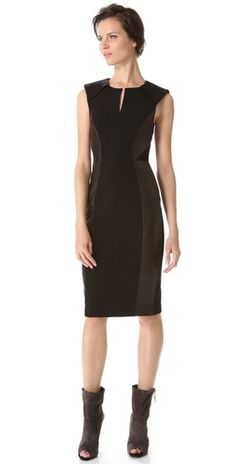J. Mendel Leather Panel Pencil Dress