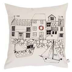Poppy Treffry seaside houses - printed cushion - cushions - Homewares