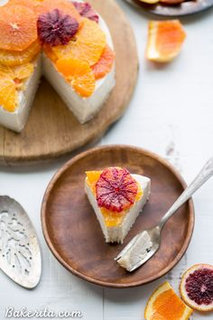 NO-BAKE LEMON CHEESECAKE WITH CITRUS TOPPING (GLUTEN FREE, PALEO + VEGAN)
