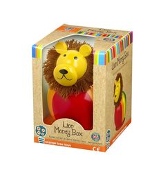 Lion Money Box  Make saving money fun with this adorable Lion Money Box! This hand crafted wooden lion money box is finished in a round shape and hand painted with bright yellow, red, orange, blue and green colours. To make this money box extra special, there is also a fluffy wool mane around the lions head! This is a lovely gift for girls and boys alike and would also make a great christening present.