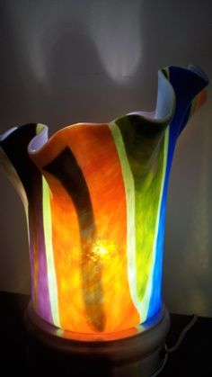 fused glass lamp molds | Table Lamp Fused Glass FREE SHIPPING by PrimoGlass on Etsy, $275.00