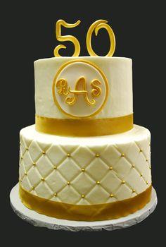 50th wedding anniversary - golden wedding anniversary, 2 tier WASC, buttercream, diamond pattern with gold dragees.