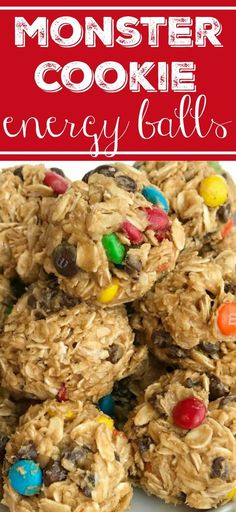 Monster Cookie Energy Balls   Oats, peanut butter, chocolate chips, honey, and m&m's are the perfect snack. No bake, no oven needed.