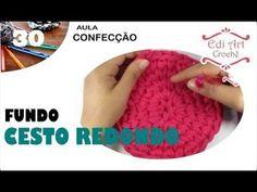 (1) Fundo Redondo Cesto Fio de Malha Ponto Baixo Centrado   Edi Art Crochê - YouTube Love Crochet, Crochet Hats, Crochet Clothes, Basket, Knitting, Knit Basket, Crochet Organizer, Flower Curtain, Tejidos