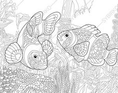 Adult Coloring Pages. Tropical Fish. Zentangle Doodle Coloring Pages for Adults. Digital illustration. Instant Download Print.