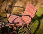 bike seat attachment for little kids, in red plaid. Cruiser Bike Accessories, Child Bike Seat, Sweet Memories, Childhood Memories, Kids Bike, Vintage Bicycles, Plaid Pattern, Red Plaid, Black Metal