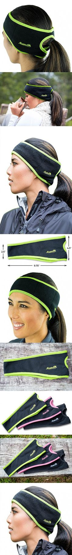 Ponytail Headband | 3 Colors | Warm Fleece for Outdoor Sports and Fitness | Ear Warmer & Sweatband | Super Sweat Absorbent | Perfect for Running or Yoga