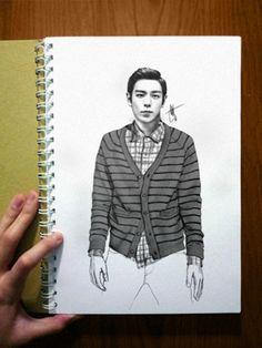 Illustration of Big Bang's T.O.P (탑)