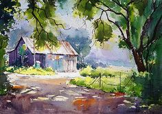 Near Mendhi Farm Painting by Vilas Kulkarni Watercolor Paintings For Beginners, Watercolor Landscape Paintings, Watercolor Artwork, Watercolor Artists, Watercolor Techniques, Landscape Art, Watercolor Barns, Farm Paintings, Art Aquarelle