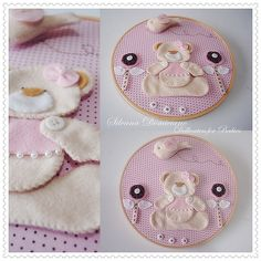 Dellicatess for Babies: Agosto 2011 Baby Crafts, Felt Crafts, Embroidery Hoop Art, Embroidery Patterns, Felt Wreath, Felt Material, Felt Baby, Fused Glass Art, Felt Fabric