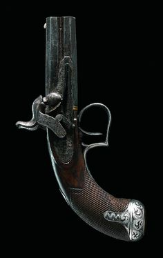 A RARE SILVER-MOUNTED PERCUSSION OVER-AND-UNDER SINGLE TRIGGER POCKET PISTOL BY JOSEPH EGG, NO.1 PICCADILY, LONDON, NO. 2657, CIRCA 1825 .