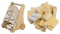 Handcrafted Oak Wooden Toddler Push Walker Roller with 30 Piece Block Building Set Busy Baby Toy USA