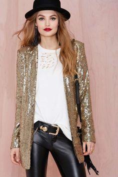 sequin blazer + white t + leather pants