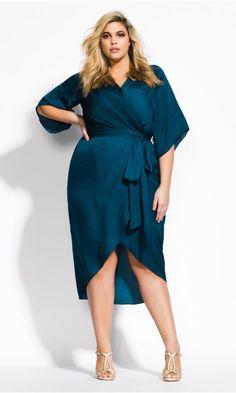 Shop Women s Plus Size Opulent Wrap Dress - Teal  98fddadc1