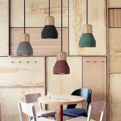 Grey Black Red Green Wood Cement Pendant Lights Dinning Room Lamp with Bulbs L100