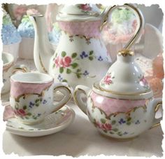 Moss Rose Childs Tea Set | BESTSELLER Child's Dainty Tea Set | Rose Blossom Cottage