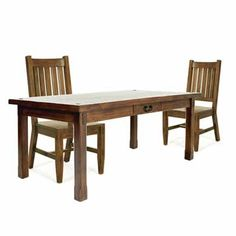 Montana dark wood dining table and chair set