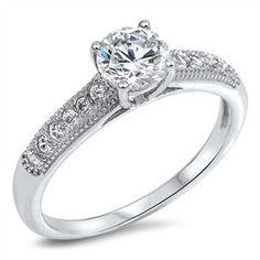 Sterling Silver Sleek Vintage Design Promise / Engagement Ring Sz 5-10 105530123456