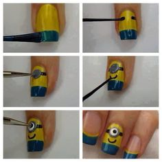 DIY Minion Nails nails diy craft halloween nail art nail trends diy nails diy nail art easy craft minions diy nail tutorial halloween nails easy craft ideas