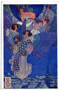 fuckyeahvintageillustration: Postcard design by Josef Wenig, ca. Ivan Bilibin, Dream Fantasy, Angels Among Us, Postcard Design, Arts And Crafts Movement, Children's Book Illustration, Faeries, Art Forms, Art Nouveau
