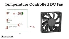 This tutorial will explain to you a simple temperature controlled DC fan. The fan starts above the preset value of temperature and stops when the temperat Electronics Mini Projects, Electronic Circuit Projects, Electronics Components, Electronic Engineering, Diy Electronics, Led Projects, Electrical Projects, Electronic Schematics, Circuit Design