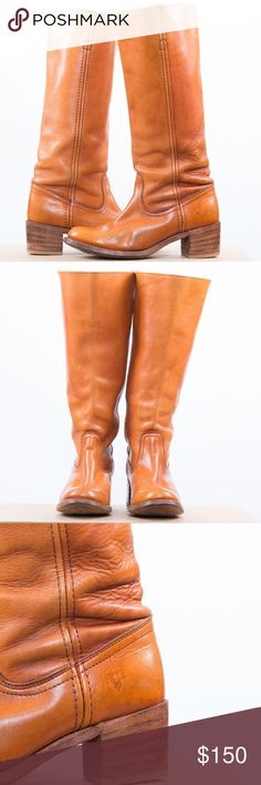 """Frye Leather Boot - Sunrise Color Frye Leather Tall Boots - sunrise color. - - --------- - Leather lined - Leather outsole - Made in USA and sourced from domestic and imported products - 13"""" shaft height - 14 3/4"""" shaft circumference - 1 3/4"""" heel height - Stacked leather heel Frye Shoes Heeled Boots"""