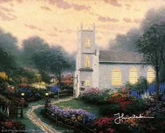 Thomas Kinkade Blossom Hill Church print for sale. Shop for Thomas Kinkade Blossom Hill Church painting and frame at discount price, ships in 24 hours. Cheap price prints end soon. Thomas Kinkade Art, Kinkade Paintings, Thomas Kincaid, Art Thomas, Kirchen, Paintings For Sale, Art Paintings, Painting Art, Beautiful Paintings