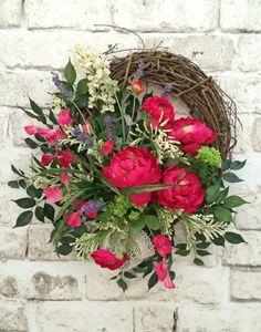 Pink Summer Wreath for Door, Front Door Wreath, Spring Wreath, Silk Floral Wreath, Grapevine Wreath, Outdoor Wreath, Silk Wreath, Home Door Décor, by Adorabella Wreaths!