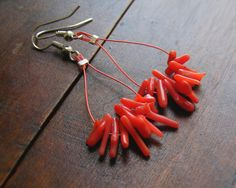 Natural coral branch earrings , $22.00 #etsy #coral #jewelry #handmade #earrings #design