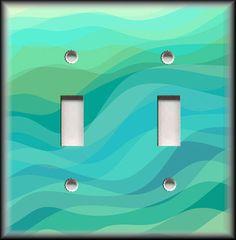http://stores.ebay.com/Luna-Gallery-Switch-Plates Beach Light Switch Plate Cover - Aqua Blue Seafoam Water Waves - Beach Decor  #LunaGallerySwitchPlates