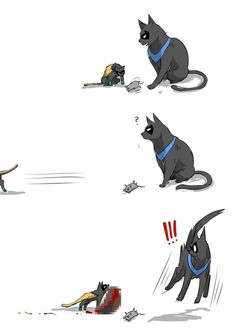 Kitty Nightwing teaching kitty Damian. (And being traumatized.)