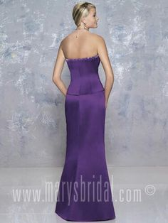 Strapless dress with slightly flared skirt and asymmetrical pleated bodice
