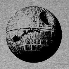 Santa passing Death Star  Men's Christmas T shirt  by ProxyPrints,  #starwars #christmas #deathstar #vader #nerdlife #nerd #geek #geekery #nerdtees $19.00
