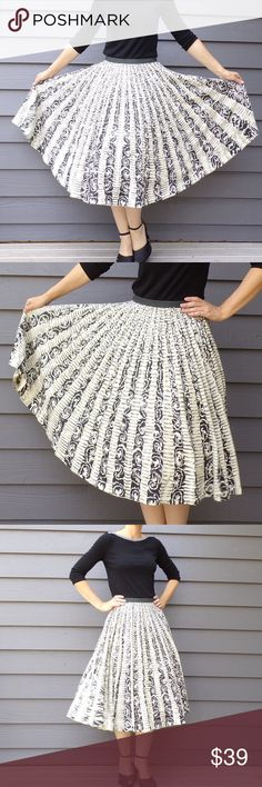 "ANTHROPOLOGIE vintage style circle skirt XS S (A9) Vintage style skirt, inspired by 1950's Mexican painted skirts. Modern-made by Ipsa, only for Anthropologie. 100% cotton, black on ivory, with dark gray waistband. Generously sprinkled with silvery sequins. Side zip/button closure. A full-circle sweep! Tagged as a 0 but runs big, more like a 4 (or a 2 that sits low), please compare the measurements with a skirt you have that fits well: waist measures 27"", and it's 29.75"" long. Excellent…"