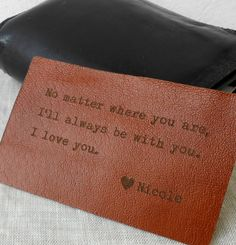 Custom Leather Wallet Insert Card, Personalized Wallet Card, 3rd Leather Anniversary Gift, Mens Gift