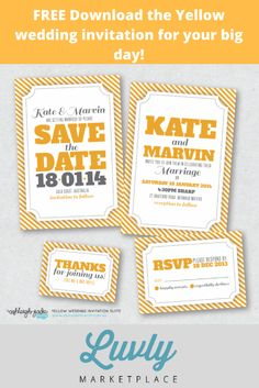 Download the Yellow wedding invitation for your big day! The full suite includes 4 pieces: Save the Date, Invitation, RSVP and Thank You Card. Free Download at luvly.co #wedding #invitation #freebies