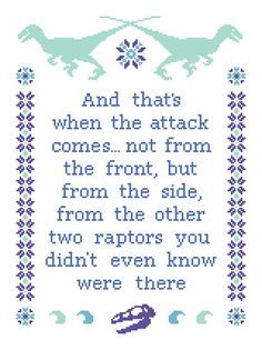 This might actually make me cross stitch!  Raptors Cross Stitch Pattern Instant by jgainesartsandcrafts, $4.50