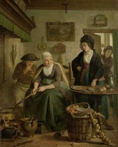 Woman Baking Pancakes, Adriaan de Lelie, c. 1790 - c. 1810 - Rijksmuseum
