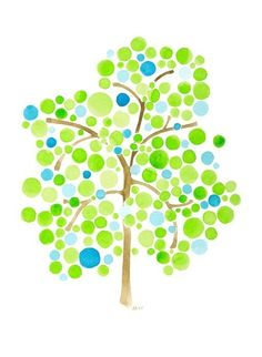Árbol acuarela arte mañana Rocío impresión reproducción de obras de arte de la pintura
