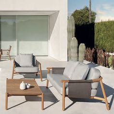 The Hamp outdoor collection has a teak frame with a Batyline sling. Batyline is a woven polyester that is resistant to stretching, cracking and fading, very quick drying and resistant to staining. The cushions are made with a quick drying outdoor rated foam and covered with Sunbrella outdoor acrylic fabric that has excellent resistance to color fading by the sun.The zippered covers can be spot cleaned or easily removed and machine washed. One, 19'' throw pillow is included with the chair and ...