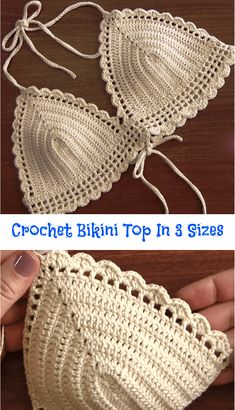 Crochet Bikini Top In 3 Sizes Crochet Bikini Top In 3 Sizes When summer season hits, you want your beach or pool style to stand out. Today we have researched amazing video tutorial about how to crochet fashionable bikini top, w… Motif Bikini Crochet, Débardeurs Au Crochet, Bikinis Crochet, Crochet Crop Top, Free Crochet, Crochet Style, Hand Crochet, Gypsy Crochet, Crochet Fringe