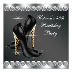 Womans Chic Black 40th Birthday Party Announcements