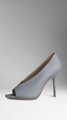 Pale slate blue Deerskin Peep-Toe Pumps