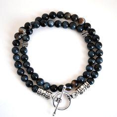 Blue Tiger Eye Wrap Bracelet