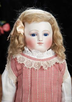 The Lifelong Collection of Berta Leon Hackney: 179 Rare French Bisque Taufling Doll by Jules Steiner with Bisque Limbs