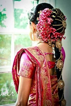 Traditional and Ornate South Indian Bridal Hairstyle with hair jewellery