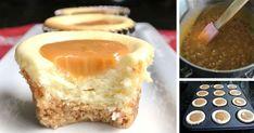 Tieto karamelové cheesecake muffinysíce nie sú nízkotučnou variantou na dezert no stoja skutočne za to. Keď ich ochutnáte neoľutujete ani jednu kalóriu Sweet And Salty, French Toast, Cheesecake, Pie, Cupcakes, Pudding, Breakfast, Desserts, Food