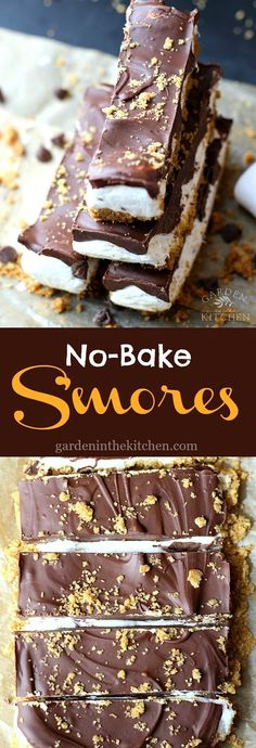 These No-Bake S'mores Bars are a fun spin on the classic s'mores. These S'mores Bars are the perfect combination of sweet, chewy, and crunchy and an indulging summer dessert you can't resist! You know summer is here when Mini Desserts, No Bake Desserts, Easy Desserts, Delicious Desserts, Baking Desserts, Quick Dessert Recipes, Delicious Cookies, Cake Baking, Frozen Desserts