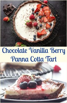 A fast and easy Chocolate Vanilla Berry Panna Cotta Tart.  A delicious creamy, delicate Italian Dessert, a berry sauce makes it perfect. via @https://it.pinterest.com/Italianinkitchn/