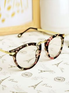 E91 Women male fashion vintage big black circular frame eyeglasses frame sheet glasses myopia metal plain mirror